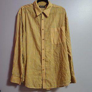 Puritan yellow blue mens button down shirt size xL
